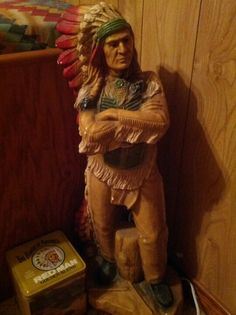 My miniature version of Cigar Store Indian Cigar Store Indian, Repurposed Wood, Whittling, Native Art, Wood Sculpture, Cherokee, Cigars, Folk Art, Africa