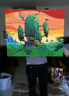 I surprised my boyfriend with this Adventure Time painting that I made :~)