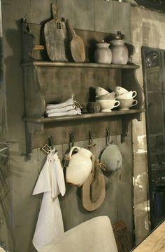 primitives... crockery, wood boards, nice old wall shelf