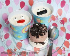 Recipe | Funny Face Pudding Cups - Great preschool birthday treat idea. Uses Jell-O Pudding, Oreos, Cool Whip and Wilton Candy Icing Decorations