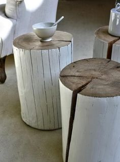 DIY stump tables  Are you kidding me! These are practical, beautiful and simple.  That's what this board is about.  Finding use in your home decor items.  Would be great in painted in high gloss black, white, and chocolate brown....all paired together.
