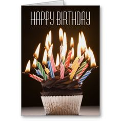 Cupcake with Birthday Candles Birthday Card by Getty Images