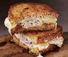 Brie, Peach, and Smoked Pork Grilled Cheese