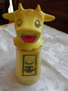 """Vintage Whirley Industries Moo Cow creamer. """"Have a happy day"""""""
