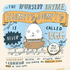 // Humpty Dumpty from artist, Mike Lowery's Random Facts notebook pages @mikelowerystudio