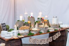 Rustic style cookie bar for a wedding at the Five Bridge Inn. Design by Peppers Artful Events. Let us bring your theme to life! Photo by Angela Greenlaw Photography