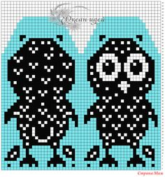 This Pin was discovered by Юли Knitted Mittens Pattern, Knitted Owl, Knit Mittens, Knitting Socks, Cross Stitch Owl, Cross Stitch Patterns, Knitting Charts, Baby Knitting Patterns, Weaving Patterns