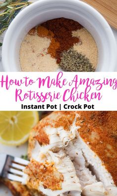 Spice Rubbed Instant Pot Whole Chicken is a Fix approved dinner, cooked to perfection in your Crock Pot or Instant Pot. Just add your favorite sides and you have a complete meal, or use it in a recipe that calls for precooked chicken. Crockpot Whole Chicken Recipes, Instant Pot Whole Chicken Recipe, Breakfast Crockpot Recipes, Chicken 21 Day Fix, Clean Dinner Recipes, Pots, Pressure Cooker Recipes, Pressure Cooking, Slow Cooker
