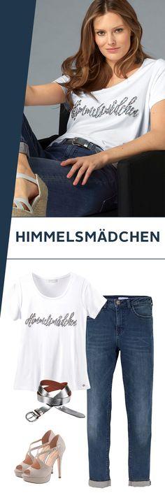 Wie man eine klassische Jeans zu einem stimmigen Outfit für nahezu alle Anlässe kombiniert, zeigt dir der Stardesigner wie Guido Maria Kretschmer: Das Pailettenshirt bringt ein wenig Glamour in deinen Look, ist aber trotzdem voll alltagstauglich. Die Sandaletten mit Absatz sorgen für tolle Beine!