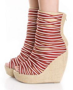 Jeffrey Campbell Pingpong Wine Combo Strap Wedge Boots $148
