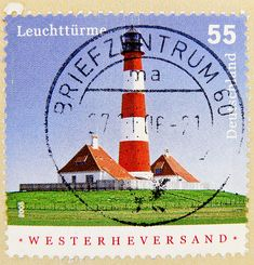 stamp Germany 55c lighthouse Westerheversand postage 55 cent € 0.55 timbre phare allemangne selo Марки postage alemanha