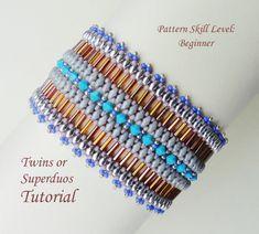 PALISSADE twin superduo bead beaded bracelet di PeyoteBeadArt