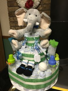 Baby boy Diaper Cake, with Elephant topper!!