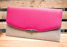 Fuchsia & Tan Clutch with detachable chain // $27.99 // shopboldthreads.com // #bold #threads #boldthreads #purse #clutch #accessories #fashion #pink #beige #tan #fuchsia