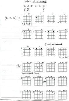 Guitar lesson - open G tuning with video and chord pictures. Guitar Chord Chart, Guitar Chords, Music Guitar, Playing Guitar, Acoustic Guitars, Learning Guitar, Fingerstyle Guitar Lessons, Bass Guitar Lessons, Guitar Tips