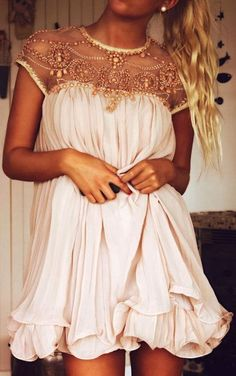 Gorgeous blush embellished pleated dress fashion