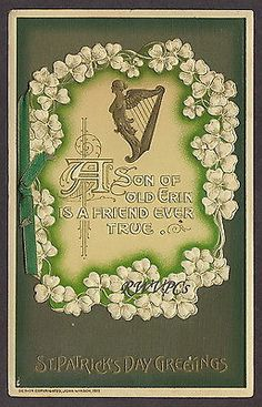 """Winsch Antique """"St-Patricks Day """"Postcard Booklet with Harps,Shamrocks, and Embossed. (It opens up with a Poem inside.)"""