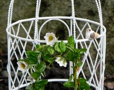 Fairy Garden accessories - miniature gazebo dome arch with flower garland and bird accessories white by TheLittleHedgerow on Etsy https://www.etsy.com/listing/192638972/fairy-garden-accessories-miniature