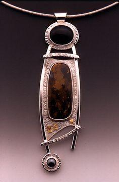 Linda Lewis Jewelry - Onyx, Jasper, Hematite Pendant