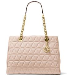 """Scarlett Large Quilted Tote Bag by MICHAEL Michael Kors. MICHAEL Michael Kors quilted lambskin tote bag. Golden hardware. Chain and leather top handles, 9.3"""" drop. Hanging lo..."""