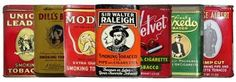 Vintage tobacco cans to remind him of his home is Virginia