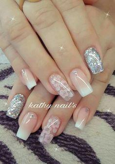 41 ways to putting glitter for nail polish idea 14 White Acrylic Nails, Glitter Nail Art, White Nails, Pink Nails, Gel Nails, Nail Polish, Bridal Nails, Wedding Nails, Nail Art Designs