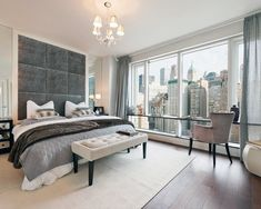Tall headboard/bed Visionaire in NYC - contemporary - bedroom - new york - Lo Chen Design Nyc Apartment Luxury, Apartment Interior, Luxury Apartments, York Apartment, Contemporary Bedroom, Modern Bedroom, Contemporary Design, Home Staging, Cheap Modern Furniture