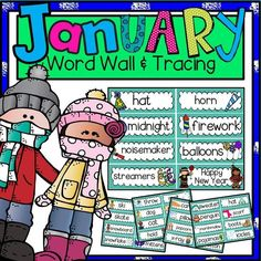 January Word Wall and Tracing includes winter vocabulary.  Includes two sets of cards-two sizes-for word walls and writing centers.  #esl #firstgrade #kindergarten #writingcenter