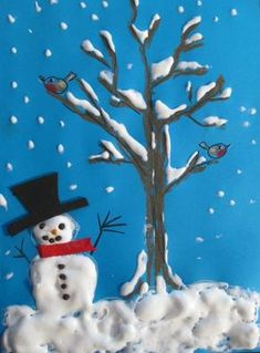 Schneelandschaft - New Ideas Winter Art Projects, Winter Crafts For Kids, Easy Christmas Crafts, Christmas Art, Fall Crafts, Projects For Kids, Art For Kids, Winter Kids, Diy Crafts