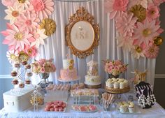 Vintage Pink & gold Dessert table by Designs by Oochay Floral & Event Design.