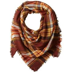 La Fiorentina Women's Oversized Square Plaid Scarf found on Polyvore featuring accessories, scarves, plaid infinity scarves, loop scarf, oversized blanket scarf, loop scarves and wrap shawl