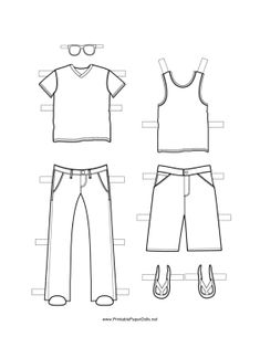 These two free, printable Boy Paper Doll outfits are great for summer, fall or spring wear. One is a t-shirt and sweater vest with jean pants and glasses. The other is a tank top over khaki shorts. Free to download and print