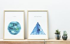 Graphic interpretation of a mountain meditation. Digital print originally made with watercolor and a love for yoga.Printed on 140g natural white recycled paper.