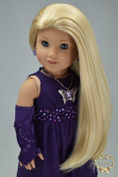 "American girl doll clothes OOAK "" Luxury Formal full length dress "" (3 pieces- Dress, Formal gloves, & Butterfly necklace )"