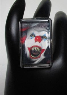 Creepy Clown Bevel Resin Ring Pennywise it Stephen King Halloween Killer Clowns Costume Mask Monster by LOOK12345 on Etsy