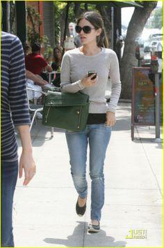 Rachel Bilson wearing 3.1 Phillip Lim Pashli Shark Effect Leather Messenger  Bag Nobody Mod Skinny jeans 1750c1a5aa