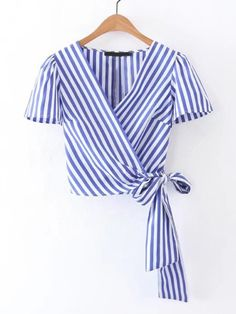 Cheap tie short sleeve shirt, Buy Quality women blouses directly from China shirt lady Suppliers: Summer white blue striped cross V neck crop tops women blouses 2017 bow tie short sleeve shirts ladies casual tops blusas Mode Outfits, Casual Outfits, Diy Fashion, Fashion Outfits, Dress Fashion, Fashion Fashion, Trendy Fashion, Short Sleeve Collared Shirts, Short Sleeves