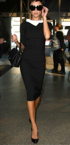 Black dress with a white statement collar. Victoria Beckham x Corporate Chic