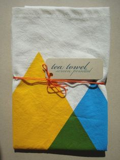 hand screen printed tea towel blue and yellow makes by juliepeach, $16.00