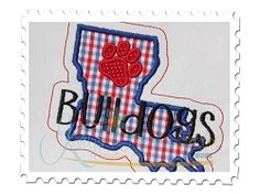 Louisiana Bulldogs State Applique - 4 Sizes! | What's New | Machine Embroidery Designs | SWAKembroidery.com Katelyn's Kreative Stitches