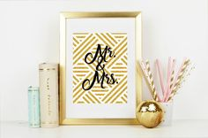 Mr. and Mrs. Gold Gatsby Inspired Wall Art - Bring Instagram into your Home! Great Wedding Gift! Keepsake & Wedding Decor-