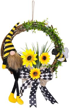 15Inch Artificial Wreath Bumble Bee Gnome Wreath with Sunflowers for Front Door Hanging Wall Window Home Decorations Diy Fall Wreath, Autumn Wreaths, Autumn Home, Wreaths For Front Door, Sunflowers, Gnomes, Bee, Window, Floral Wreaths