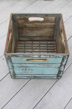 Vintage Baby Blue Crate Box