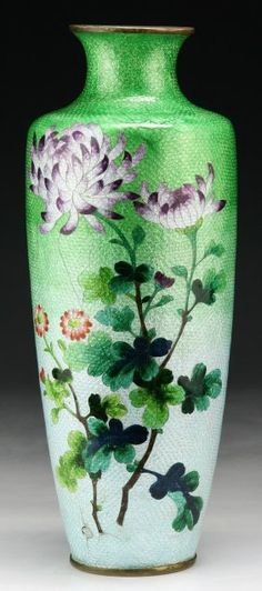 Fine Antique Japanese Signed Ginbari Cloisonne Vase With Colorful