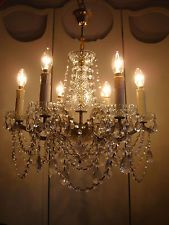 ~~ divine large vintage french glass clad crystal chandelier ~~