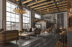 loft-idea-bulb-chandelier-industrial-living-room-lighting.jpg (1200×795)