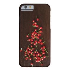 Red hot peppers on dark wood (iphone 6 case)