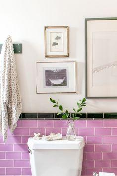 Lovely lavender tile bathroom.