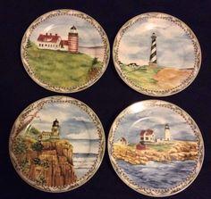 American Atelier Signals Lighthouse 5100 Plates Set of Four Salad Dessert & Nautical Breeze 19-pc Melamine Dinnerware Set NEW Lighthouse ...