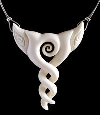 Bone Twisted Pendant ~ The twist with its crisscross form represents the many paths of life and love and as such is regarded as the original eternity symbol. The single twist in particular shows the joining together of two people for eternity. Even though they sometimes move away from each other on their own journeys, they will always come together again sharing their lives and blending to become one. It tells how the strength of bond of friendship, loyalty and love will last forever.